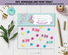 Load image into Gallery viewer, Whimsical Mermaid Tail Favor Lolly Bag Topper Tag Editable Template - Instant Download - Digital Printable File - MT3