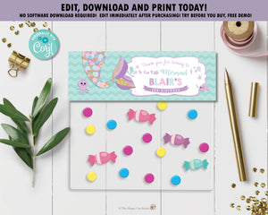 Whimsical Mermaid Tail Favor Lolly Bag Topper Tag Editable Template - Instant Download - Digital Printable File - MT3