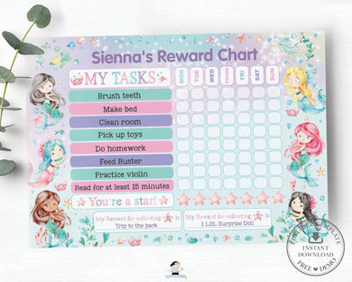 Mermaid Under the Sea Reward Chart Editable Template Personalized - Instant Download - WM1