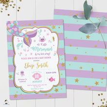 Load image into Gallery viewer, Chic Mermaid Turquoise Purple Gold Baby Shower Invitation - Editable Template - Instant Donwload - MT1