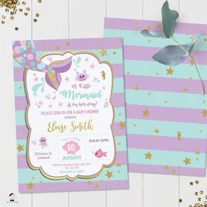 Chic Mermaid Turquoise Purple Gold Baby Shower Invitation - Editable Template - Instant Donwload - MT1