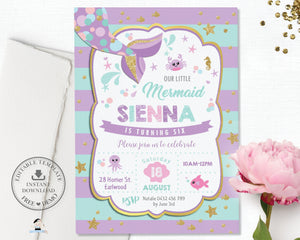 Chic Mermaid Turquoise Purple Gold Birthday Invitation - Editable Template - Instant Donwload - MT1