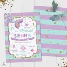 Load image into Gallery viewer, Chic Mermaid Turquoise Purple Gold Birthday Invitation - Editable Template - Instant Donwload - MT1