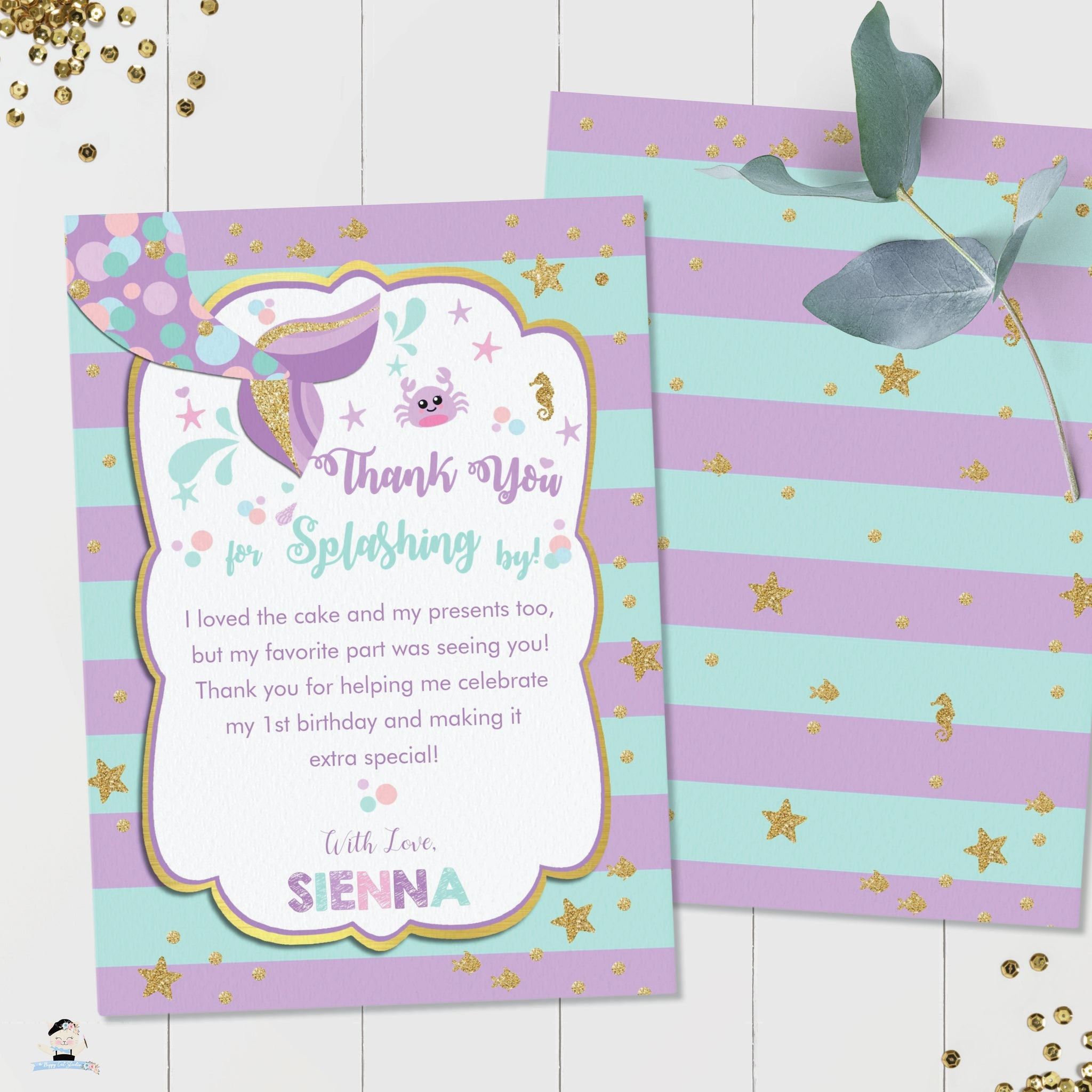 Editable Template Online Mermaid Birthday Thank You Card with Photo Instant Download