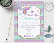 Load image into Gallery viewer, Chic Mermaid Turquoise Purple Gold Birthday Thank You Card - Editable Template - Instant Donwload - MT1