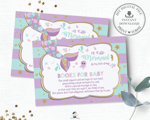 Chic Mermaid Tail Under the Sea Bring a Book Instead of a Card Insert - Instant Download - Digital Printable File - MT1