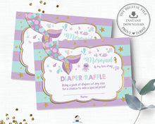 Load image into Gallery viewer, Chic Mermaid Tail Under the Sea Diaper Raffle Ticket Insert Card - Instant Download - Digital Printable File - MT1