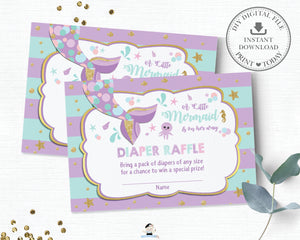 Chic Mermaid Tail Under the Sea Diaper Raffle Ticket Insert Card - Instant Download - Digital Printable File - MT1