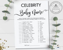 Load image into Gallery viewer, Minimalist Typography Modern Celebrity Baby Name Baby Shower Game Digital Printable File - Instant Download - MN1