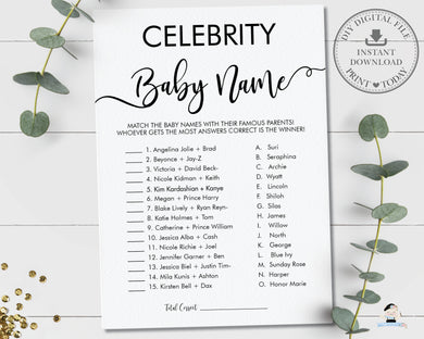 Minimalist Typography Modern Celebrity Baby Name Baby Shower Game Digital Printable File - Instant Download - MN1