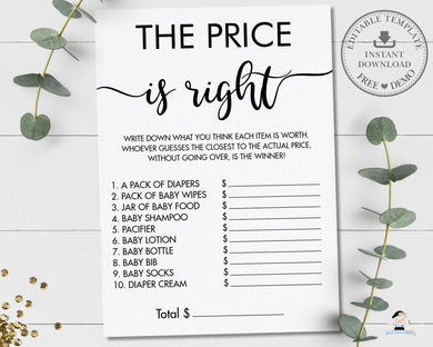 Minimalist Typography Modern The Price is Right Baby Shower Game - Editable Template - Digital Printable File - Instant Download - MN1