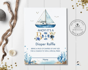 Chic Nautical Boat Baby Shower Diaper Raffle Ticket Card - Instant Download - Digital Printable File - NT2