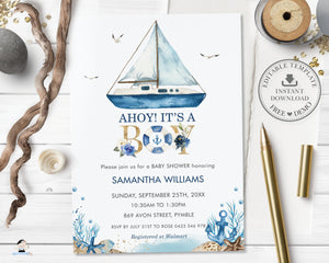 Chic Nautical Boat Ahoy It's a Boy Baby Shower Invitation Editable Template - Digital Printable File - Instant Download - NT2