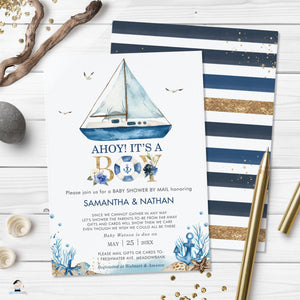 Chic Nautical Boat Ahoy It's a Boy Baby Shower by Mail Invitation Editable Template - Digital Printable File - Instant Download - NT2