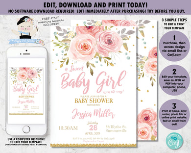 Pink Blush Floral Baby Girl Shower Invitation - Instant Download DIY EDITABLE TEMPLATE - PK2