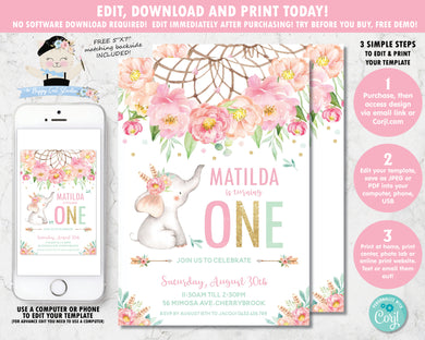 Elephant Boho Pink Floral Dream Catcher 1st Birthday Invitation Editable Template - Digital Printable File - Instant Download - BF2