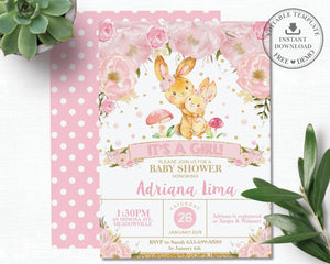 Pink Floral Bunny Rabbit Baby Shower Girl Invitation Editable Template - Instant Dowload - Digital Printable File - BR1