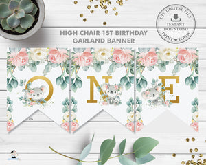 Koala Pink Floral Eucalyptus Greenery 1st Birthday ONE High Chair Banner Decor Digital Printable File - Instant Download - AU2