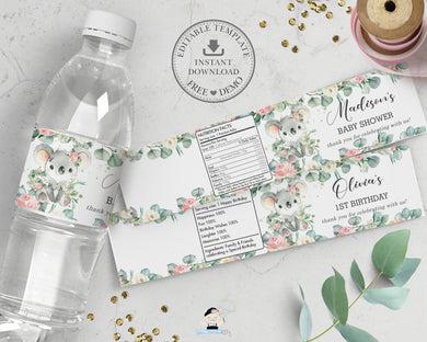 Cute Koala Pink Floral Greenery Mineral Water Bottle Labels Editable Template - Digital Printable File - Instant Download - AU2