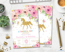 Load image into Gallery viewer, Spring Floral Unicorn and Fairy Birthday Invitation - Instant EDITABLE TEMPLATE - FU1