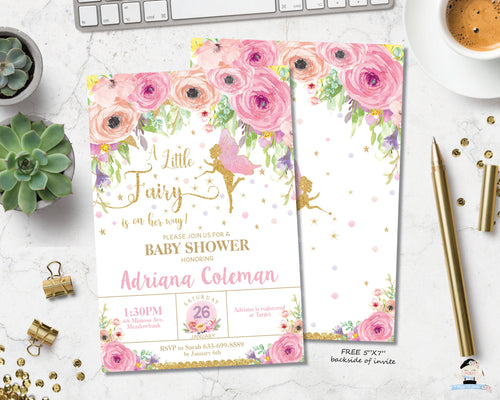 Spring Floral Fairy Baby Shower Invitation - Instant EDITABLE TEMPLATE - FF3