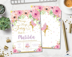 pink floral fairy birthday personalized invitation instant editable template digital printable file