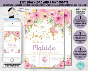 Pink watercolor floral gold glitter fairy with pink wings birthday party editable invitation template printable file