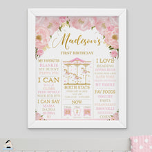 Load image into Gallery viewer, Chic Pink Floral Carousel 1st Birthday Milestone Sign Birth Stats Editable Template - Instant Download - Digital Printable File - CR3