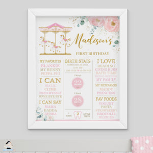 Blush Floral Carousel 1st Birthday Milestone Sign Birth Stats Editable Template - Instant Download - Digital Printable File - CR3