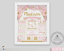 Load image into Gallery viewer, Pink Floral Carousel 1st Birthday Milestone Sign Birth Stats Editable Template - Instant Download - Digital Printable File - CR3