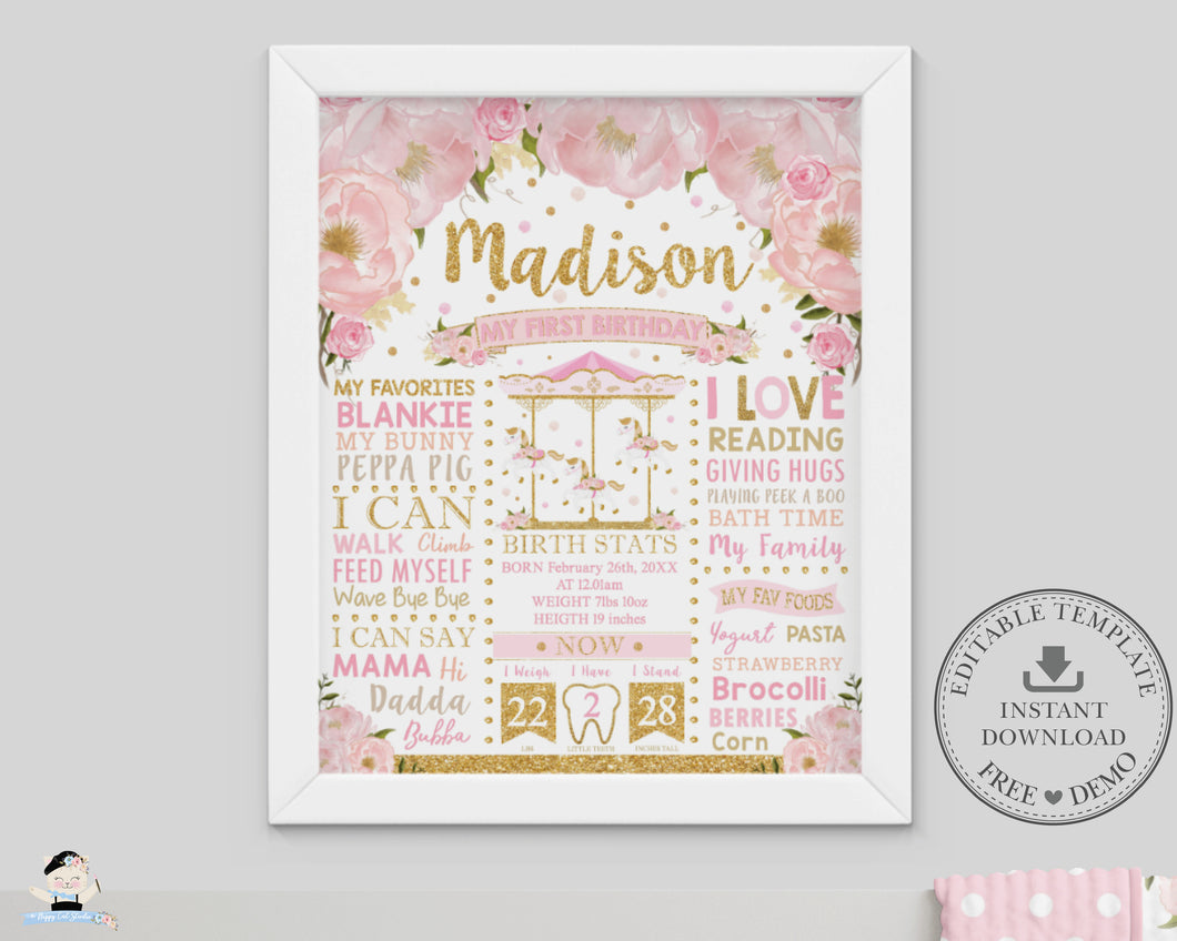 Pink Floral Carousel 1st Birthday Milestone Sign Birth Stats Editable Template - Instant Download - Digital Printable File - CR3