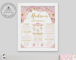 Chic Pink Floral Carousel 1st Birthday Milestone Sign Birth Stats Editable Template - Instant Download - Digital Printable File - CR3