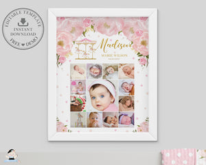 Carousel Pink Floral Baby First Year Photo Collage EDITABLE TEMPLATE - Instant Download - Digital Printable File - CR3