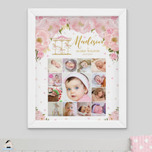 Load image into Gallery viewer, Carousel Pink Floral Baby First Year Photo Collage EDITABLE TEMPLATE - Instant Download - Digital Printable File - CR3