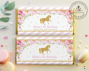 Pink Floral Horse Gold Glitter Chocolate Bar Wrappers for Aldi and Hershey's Chocolate Bars - DIY EDITABLE TEMPLATE Digital Printable File - INSTANT DOWNLOAD - HR1