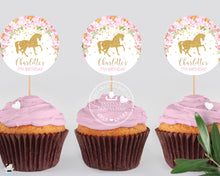 "Load image into Gallery viewer, Pink Floral Horse Birthday Baby Shower Circle Round 2.5"" Label Tag Editable Template - Instant Download - Digital Printable File - HR1"