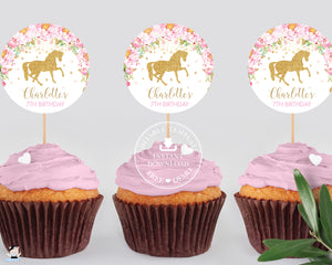"Pink Floral Horse Birthday Baby Shower Circle Round 2.5"" Label Tag Editable Template - Instant Download - Digital Printable File - HR1"