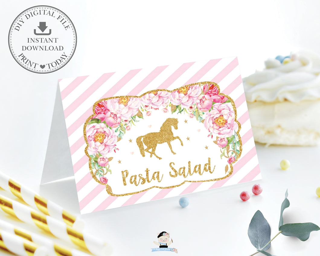 Pink Floral Horse Birthday Party Food Tents Place Cards Editable Template - Instant Download - Digital Printable File - HR1