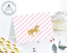 Load image into Gallery viewer, Pink Floral Horse Birthday Party Food Tents Place Cards Editable Template - Instant Download - Digital Printable File - HR1