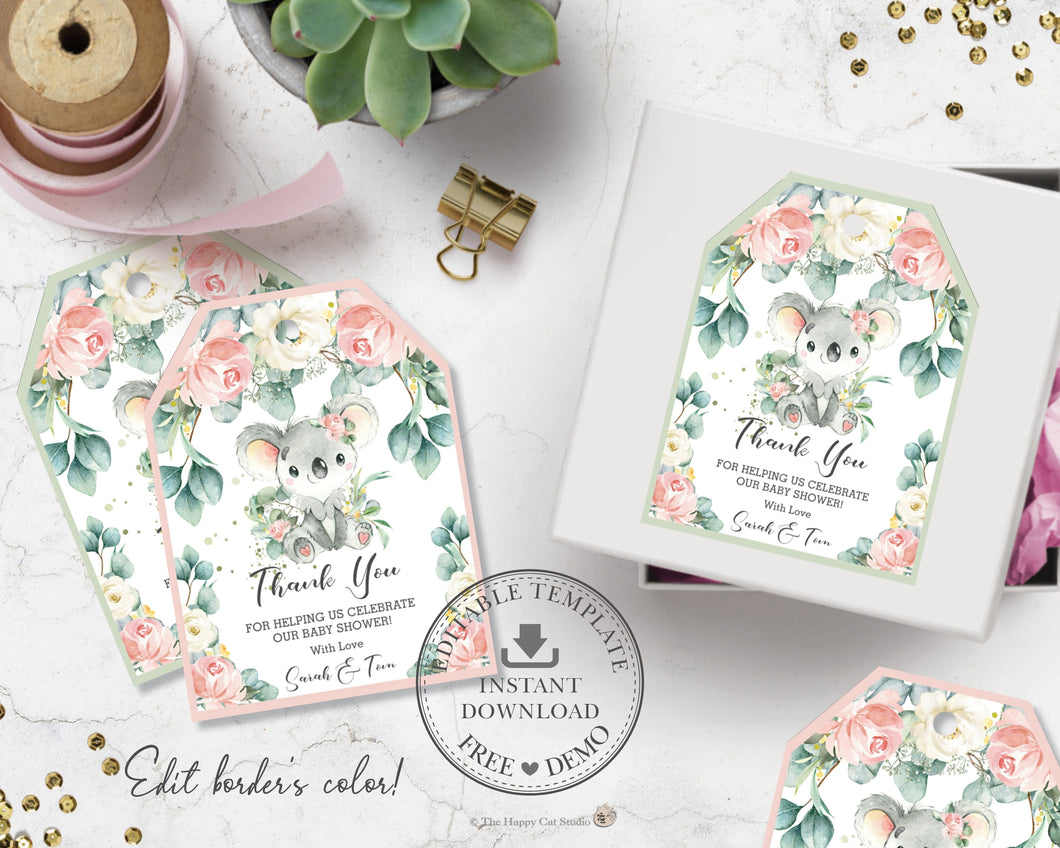 Koala Floral Eucalyptus Greenery Favor Tags Editable Template - Digital Printable File - Instant Download - AU2