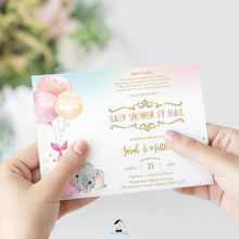 Load image into Gallery viewer, Elephant Baby Shower by Mail Invitation Baby Girl Long Distance Virtual Shower - Editable Template - Instant Download - EP3