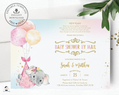 Elephant Baby Shower by Mail Invitation Baby Girl Long Distance Virtual Shower - Editable Template - Instant Download - EP3