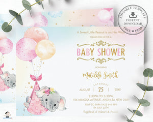 Chic Elephant Balloons Baby Shower Invitation Girl - Editable Template - Instant Download - EP3