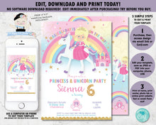 Load image into Gallery viewer, blonde princess sitting on a unicorn birthday party personalized editable invitation template with rainbow background