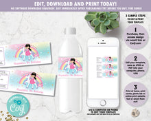 Load image into Gallery viewer, Princess and Unicorn Birthday Party Water Bottle Label Sticker Editable Template - Black Hair -Instant EDITABLE TEMPLATE - PU1