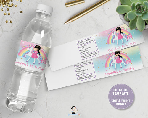 Princess and Unicorn Birthday Party Water Bottle Label Sticker Editable Template - Black Hair - Instant EDITABLE TEMPLATE - PU1