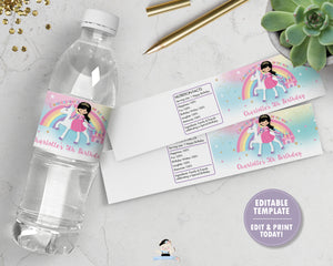 Princess and Unicorn Birthday Party Water Bottle Label Sticker Editable Template - Black Hair -Instant EDITABLE TEMPLATE - PU1