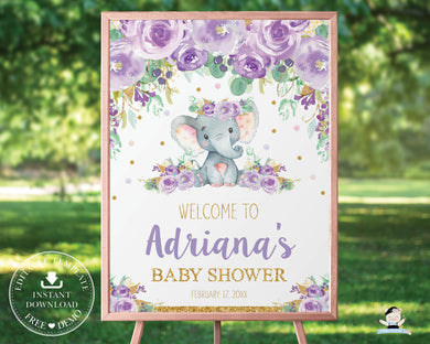 Elephant Purple Floral Welcome Sign Baby Shower Birthday - Editable Template - Digital Printable File - Instant Download - EP9