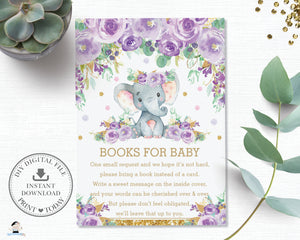 Purple Floral Elephant Baby Shower Bring a Book Instead of a Card Inserts - Instant Download - EP9