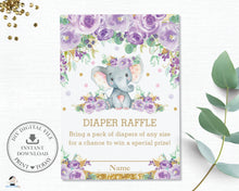 Load image into Gallery viewer, Purple Floral Elephant Baby Shower Diaper Raffle Card - Instant Download - EP9